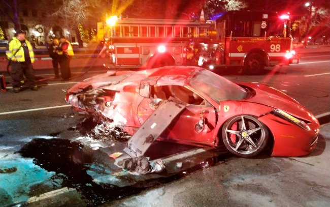 Ferrari Catches Fire In Lake Shore Drive Crash - Two People Injured
